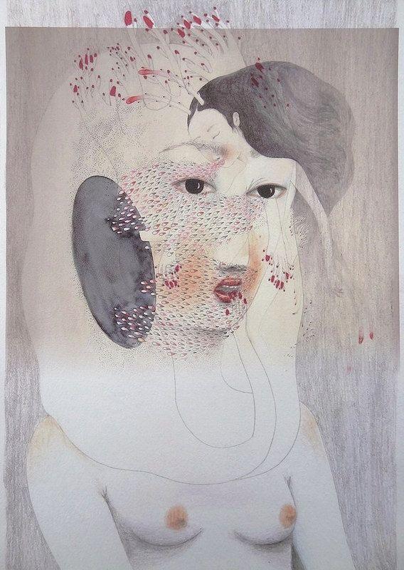 'L'implongée' by French artist Cendrine Rovini. Mixed media. source: the artist on Etsy. via juxtapoz