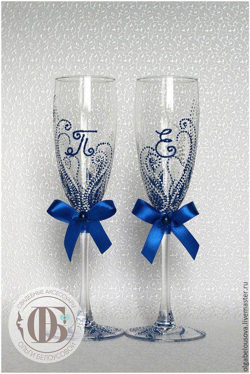 Купить Бокалы с инициалами; точечная роспись бокалов - тёмно-синий, свадебные бокалы, бокалы на свадьбу