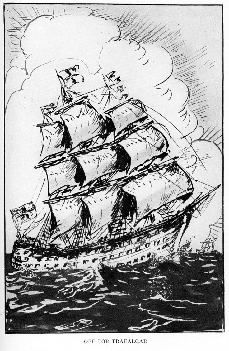 "Off for Trafalgar, illustration by Hendrik Willem van Loon for his book ""The Story of Mankind"" ~ in 1922, van Loon received for this book the first John Newbery Medal awarded by the American Library Association for the year's most distinguished contribution to children's literature... I have other interesting book illustrations by him, from a 1921 issue of ""Here and Now Story Book -- Two to Seven Year-Olds"" by Lucy Sprague Mitchell"