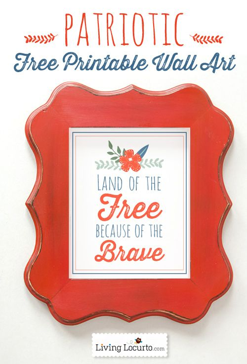 Patriotic Free Printables- Pretty Red White and Blue Wall Art by LivingLocurto.com: Wall Art, Blog Hop, Printable Patriots, Blue Wall, Patriots Wall, Red White Blue, Blue Blog, Art Red, Free Printable