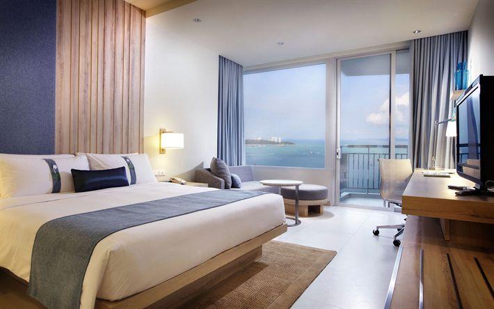 Download wallpapers bedroom, hotel room, light design, modern apartment, interior idea, modern design