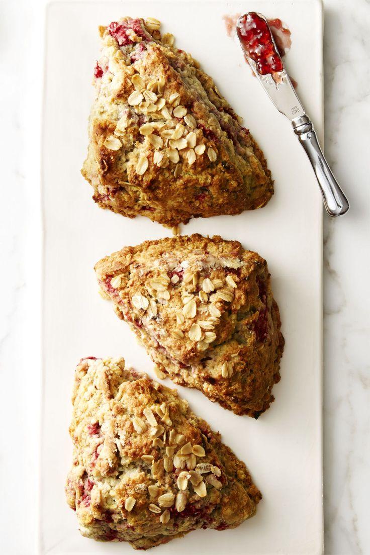 Delicious! Raspberry Oat Scones #scones #raspberryoatscones GoodHousekeeping.com