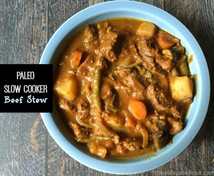 Paleo Slow Cooker Beef Stew Recipe Main Dishes with stew meat, pepper, salt, crushed garlic, thyme, sauce, carrots, parsnips, onions, turnips, green beans, portabello mushroom, beef stock, pumpkin purée, salt, garlic powder