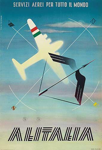 Alitalia - Servizi aerei per tutto il mondo - 1948 - (Santandrea) -