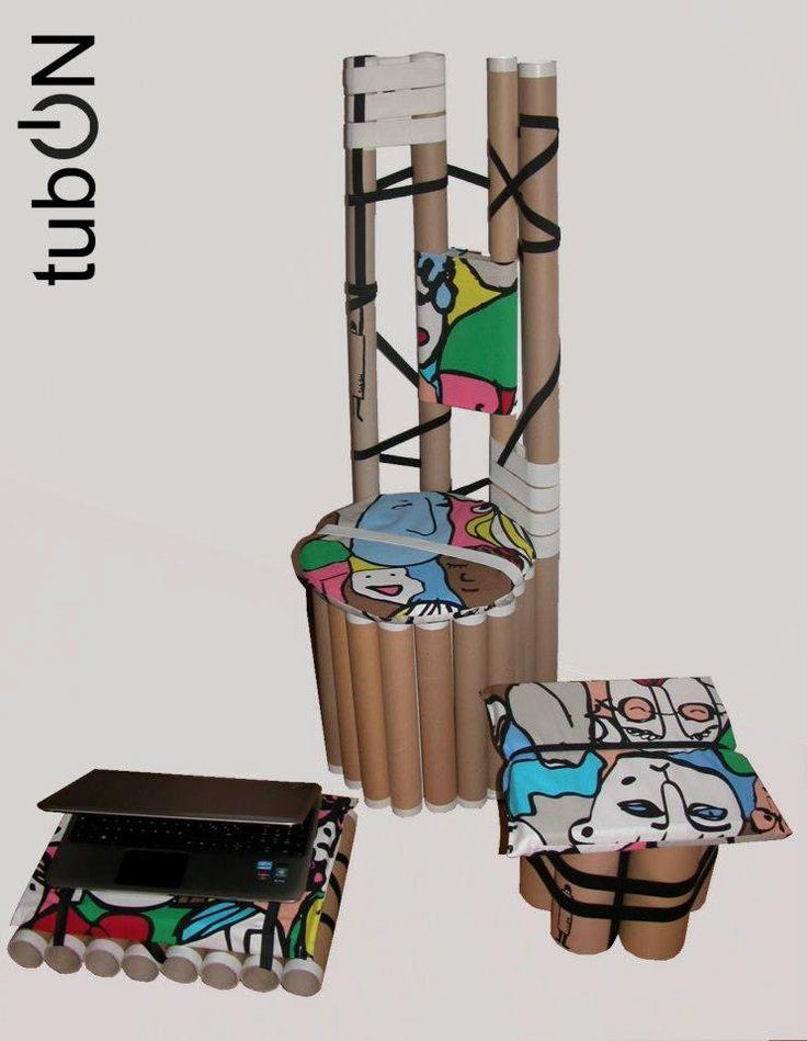 """""""TubON"""" E' la linea di complementi d'arredo composta da un vassoio che all'occorrenza diventa un porta pc e da una sedia con il suo pouf-poggiapiedi. Nella sua essenzialità è adattabile ad ogni ambiente, è multifunzionale e rigorosamente ECO. Nasce dall' assemblaggio di tubi di diverse dimensioni che derivano dallo scarto dell'industria tessile ed alimentare."""