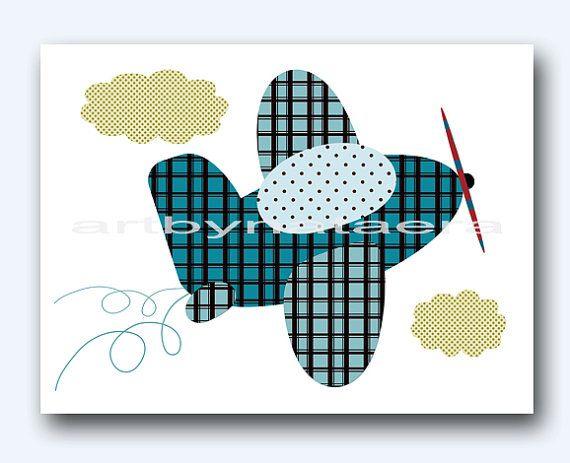Baby Shower Gift Plane Baby Print Art for Children Kids Wall Art Baby Boy Room Decor Baby Nursery Decor Baby Boy Nursery Print Blue