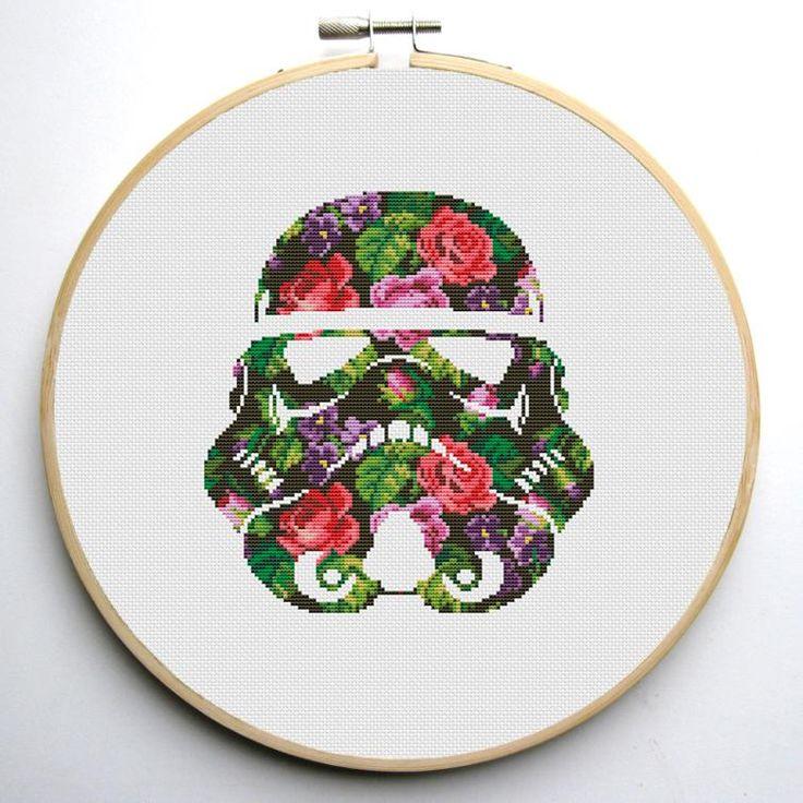 Floral Stormtrooper Helmet 2 Cross Stitch Pattern | Craftsy