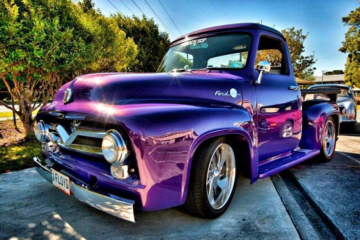 1955 Ford f100 in Candy Purple Yeah I would drive that ;)
