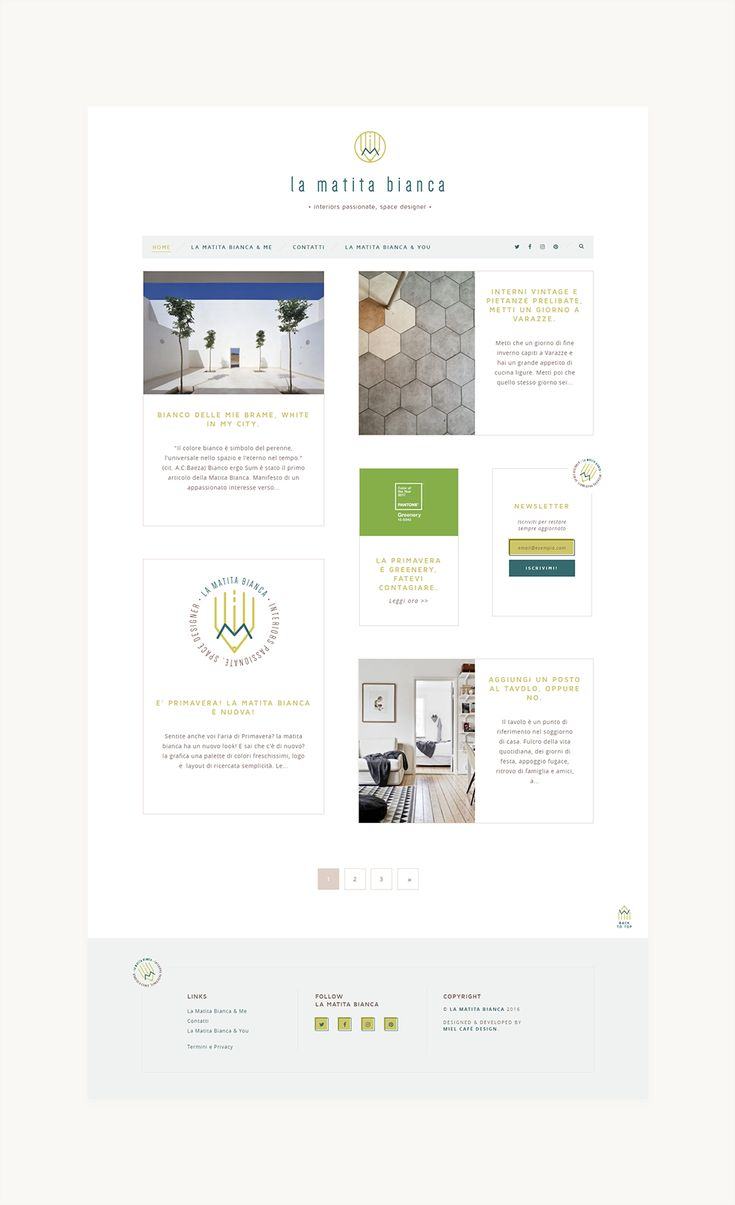 Blog design & branding for interior blog La Matita Bianca: minimal, clean, linear, responsive