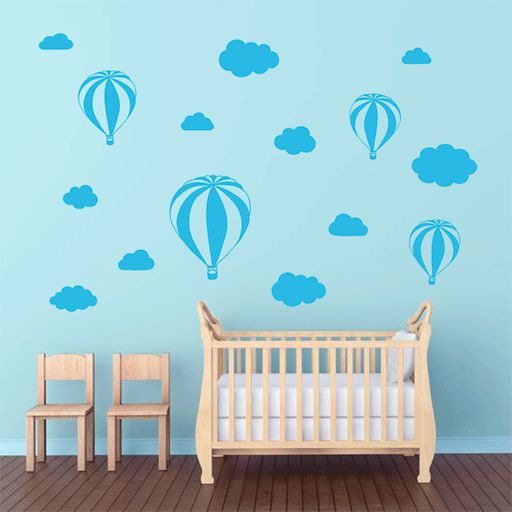 Vinilo de nubes y globos ideal para decorar las paredes for Paredes habitacion infantil