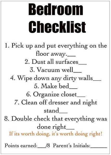 Chore list for kids - part of morning/afternoon chores