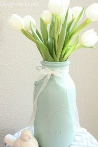 DIY mason jar vase...love the color.  For Mother's Day, Easter, or end of the year teacher gifts. Krylon catalina mist paint.: Centerpiece, Masons, Diy'S, Wedding Ideas, Painted Mason Jars, Craft Ideas, Flower