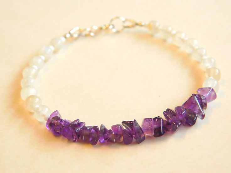 Amethyst Bracelet, Beaded Bracelet, Moonstone bracelet, Boho, Stacking, Layering Bracelet by jljewellerydesign on Etsy