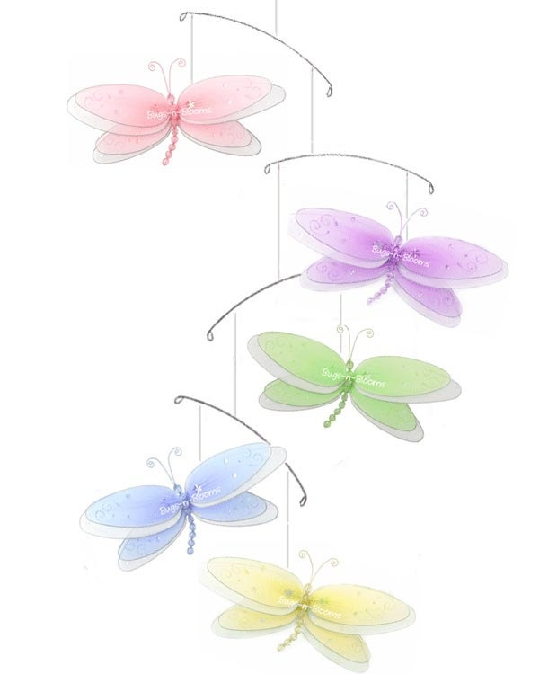 Dragonfly Mobiles Nylon Hanging Multi-Layered Dragonflies Mobile - Baby Nursery Girls Bedroom Ceiling Hanging Room Decor. $18.95, via Etsy.