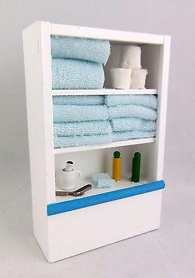 Dolls #house Miniature Furniture White #bathroom Shelf Unit U0026 #accessories  Blue, View