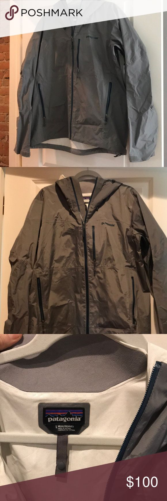 Super light weight Patagonia rain jacket. This is the perfect, packable rain jacket for all of your outdoor adventures! Patagonia Jackets & Coats Raincoats