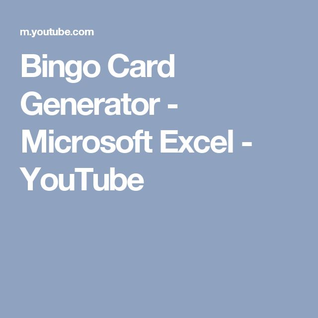 how to make bingo cards in excel