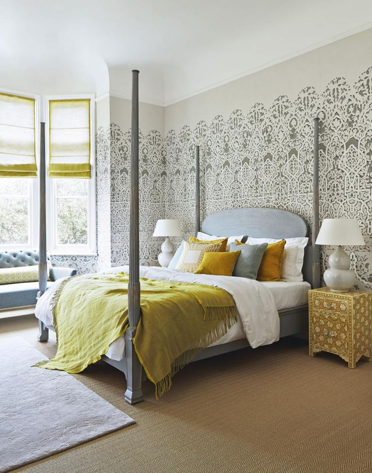 Looking For Bedroom Decorating Ideas? Check Out This Beautiful Bedroom  Patterned Wallpaper And Four Poster Bed. Find More Design Ideas At  Theroomedit.
