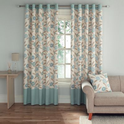 Montgomery teal 39 solo 39 fully lined curtains with eyelet heading at new living for Lined valances for living room