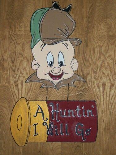 Elmer Fudd hunting door hanger