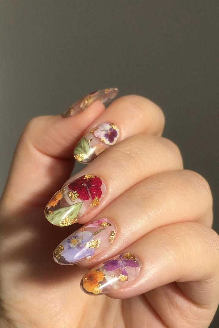 Reusable Pressed Dried Flowers Press-On Nails (clear base + gold flake) – – #base #clear #Dried #flake #Flowers #GOLD …