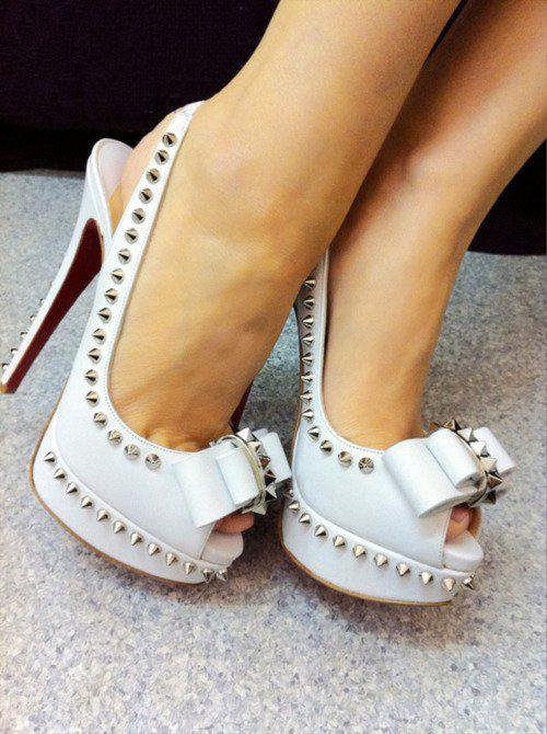 #shoes, #shoesWhite Shoes, Fashion, Spikes, Studs Heels, White Heels, Bows, High Heels, Christian Louboutin, Christianlouboutin