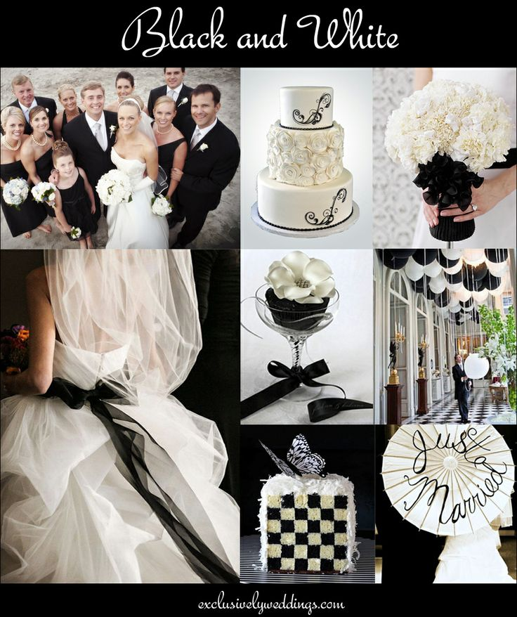 Black and White Wedding Colors - Read more at http://blog.exclusivelyweddings.com/2014/02/15/the-10-all-time-most-popular-wedding-