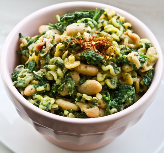 quick vegan power pasta ideas • cook pasta (whole wheat, spelt, farro, quinoa, tri-color or brown rice) toss in canned beans (fava, cannellini, garbanzo, kidney, black, pinto or navy) during the last few minutes. then drain and fold in the greens (spinach, shredded kale, collard greens, chard or arugula) with some olive oil. dress (lemon juice, smoked paprika and/or red pepper flakes) and serve.❤❤