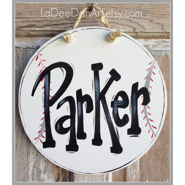 Baseball Sign Plaque Boy Door Sign Bedroom Door Wall Art Boy Art... ($16) ❤ liked on Polyvore featuring home, home decor, wall art, home & living, home décor, silver, wall décor, wall hangings, baseball signs and personalized signs