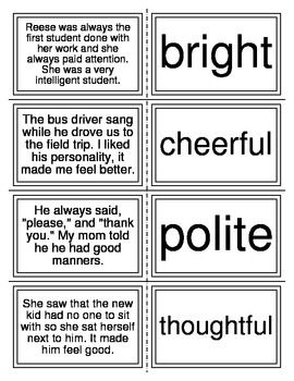 Character Trait Matching Task Cards I-Station Series (20 Cards)Short readingMatch Reading Passage with Character Trait
