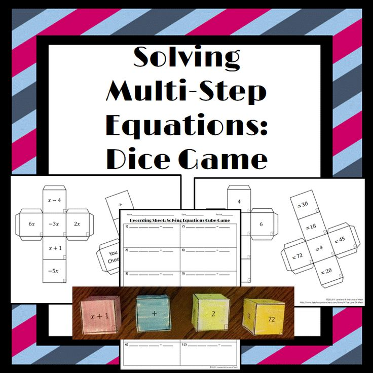 ***Freebie: Solving Multi-Step Equations: Students will put 4 cubes together. Each cube has 1 part on an equation on it. They will use the information on the cubes to create 12 multi-step equations to solve!