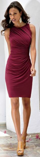 I have a dress similar to this that looks great on me. Flatters my curves without making me feel fat. Fabric has to be thick enough. BuyerSelect.com