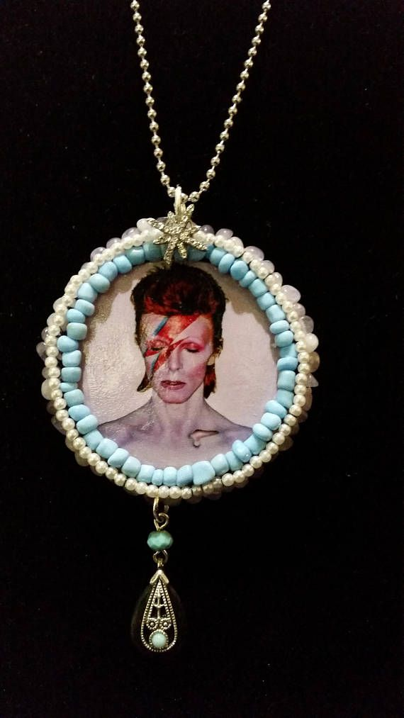 Aladdin Sane Pendant Necklace  turquoise pearl handcrafted