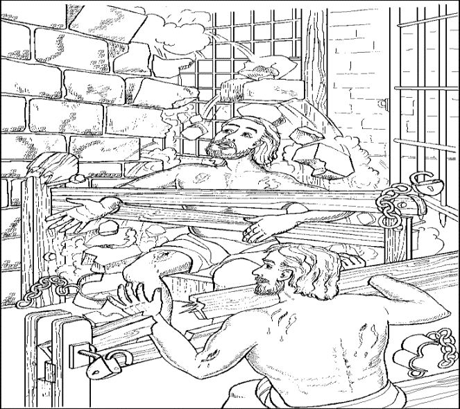 Paul and Silas in Prison coloring page. This coloring page