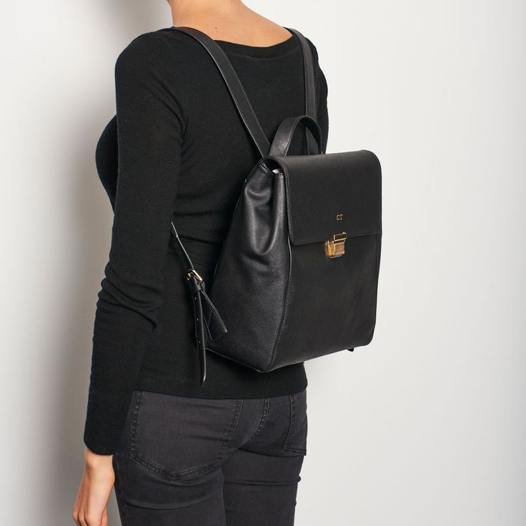 Black Structured Backpack   The Daily Edited