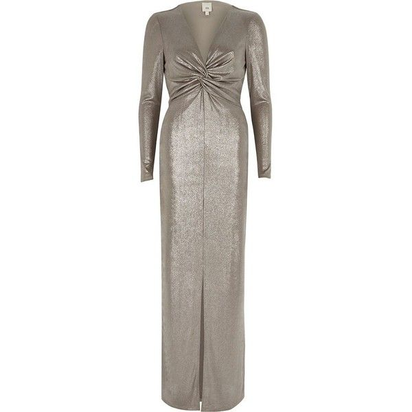 River Island Silver metallic knot front bodycon maxi dress (400 PLN) ❤ liked on Polyvore featuring dresses, gowns, maxi dresses, silver, women, long sleeve bodycon dress, knot front dress, brown maxi dress, long sleeve gowns and evening long sleeve maxi dresses