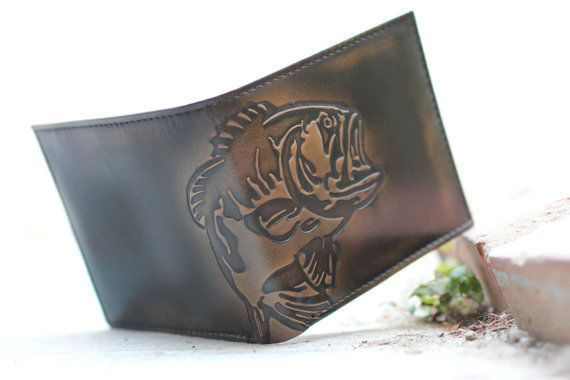 BASS FISH Double ID Bifold Wallet - Men's Leather Wallet - Personalized Wallet #NEW