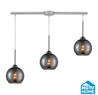 View the ELK Lighting 10240/3L-CHR HGTV Home Cassandra Three-Light Linear Mini Pendant Cluster with Chrome Glass Shades, in Polished Chrome Finish at Build.com.