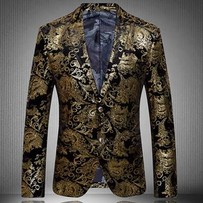 Men Suits 2016 New Arrival Fashion Party Single Breasted Men Suit Jacket Gold Blazer and Men Floral Casual Slim BlazersPlus Size S-4XL