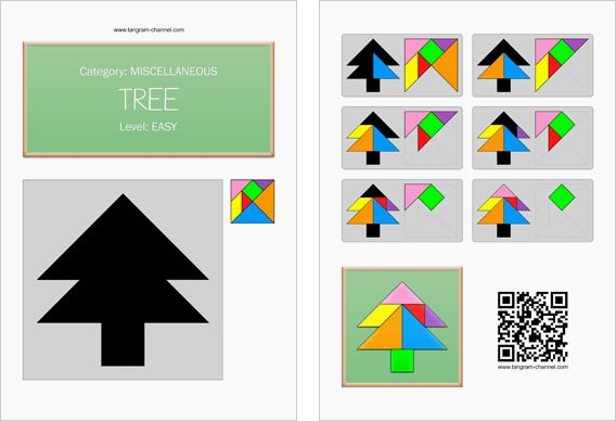 Tangram worksheet 267 : Tree - This worksheet is available for free download at https://www.tangram-channel.com