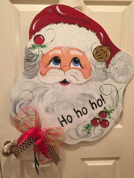 Ho Ho Ho! Merry Christmas! Welcome your guest with this charming Santa Door decoration. This hand-painted original design is light weight for easy handing, can