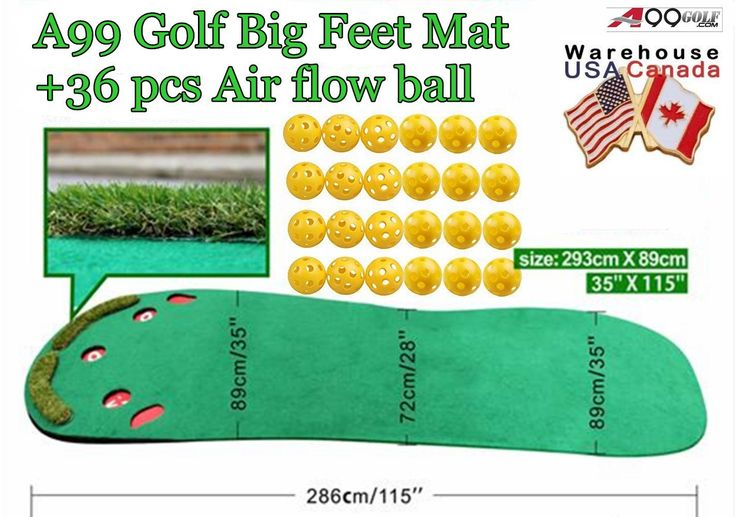 This high quality big feet golf practice putting green mat by A99 Golf comes with 36pcs yellow air flow balls