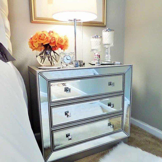 if you have a tiny bedroom you can enlarge the space by finding a mirrored - Bedroom Table Ideas