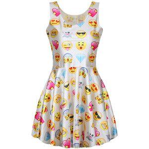 White Ladies Cute Fancy Emoji Printed Pleated Skater Dress