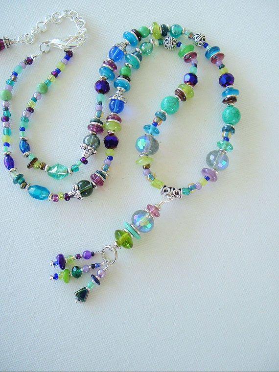 Boho Fashion Colorful Necklace Bohemian Jewelry by BohoStyleMe