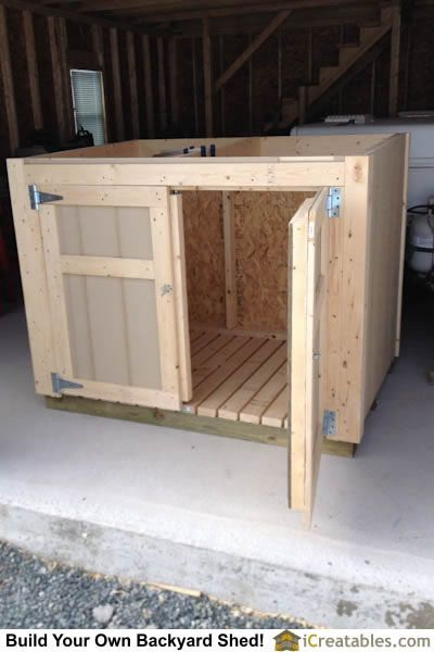 Installing the doors on the Generator shed plan.