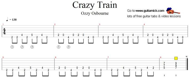 how to play crazy train on guitar for beginners