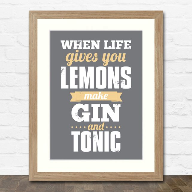 Make Gin and Tonic A4 Typographic Art Print