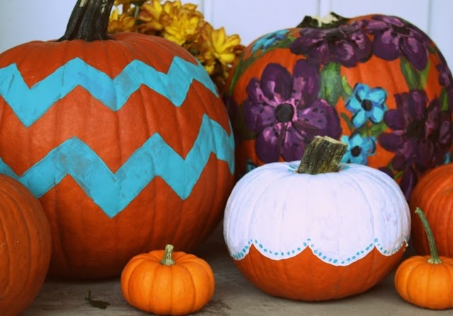 Floral Print and Chevron Painted Pumpkins for Fall