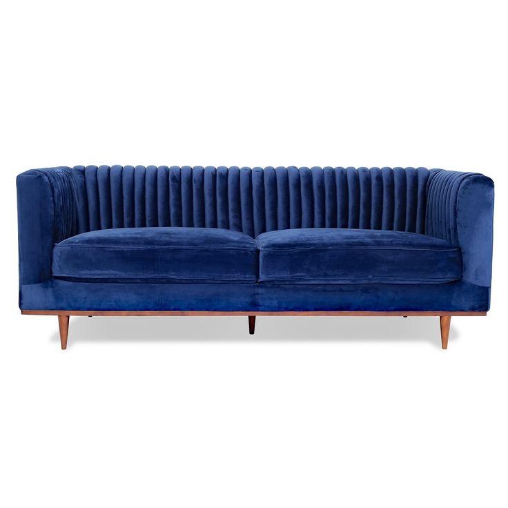 """Laurel Modern 2 Cushion Blue Velvet Sofa 81"""""""